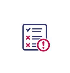 Failed test icon on white vector