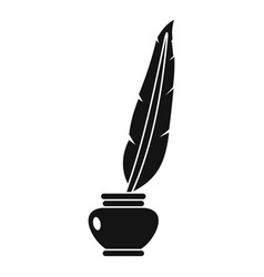Feather quill pen standing in bottle of ink icon vector
