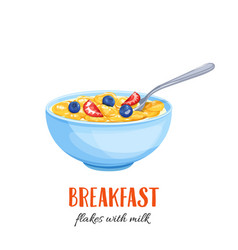 Flakes with milk and berries vector