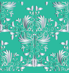 floral seamless patternwhite abstract vintage vector image