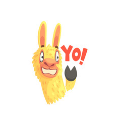 Funny llama character waving its hoof saying yo vector