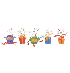 Gifts and presents with confetti surprise box vector