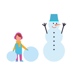 Girl in warm cloth hold balls of snow and snowman vector
