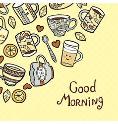 Good morning card with doodle tea cups on dotted vector