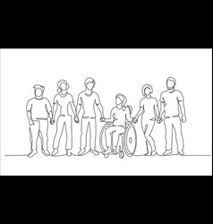 Group people hold hands friends together vector