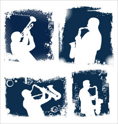 Grunge jazz background set vector image
