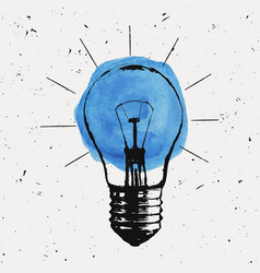 grunge with light bulb modern hipster sketch vector image