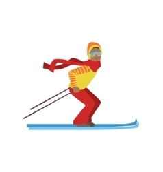 Guy on mountain skis winter sports vector