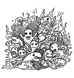 hand drawn cute doodle monster vector image