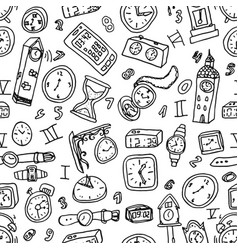 hand drawn set of clocks and watches seamless vector image