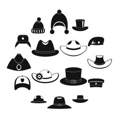 Headdress hat icons set simple style vector