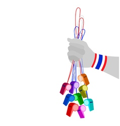 Human Hand Holding Group of Thai Whistles vector