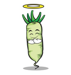 Innocent white radish cartoon character vector