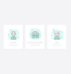 international business - line design style icons vector image