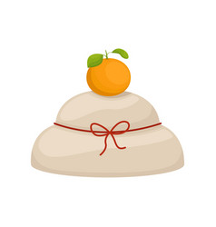 Japanese new year kagami mochi new years dishes vector