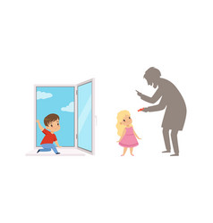 Kids in dangerous situations set cute boy playing vector