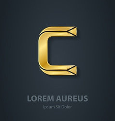 Letter C elegant gold font Template for company vector image