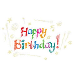 lettering happy birthday hand-drawn card vector image