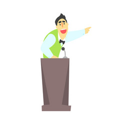 man giving presentation at a podium in a green vector image