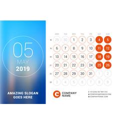 may 2019 desk calendar for 2019 year design print vector image