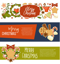 merry christmas happy winter holiday banners vector image