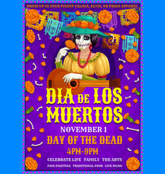 mexican dia des los muertos party friday woman vector image