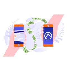 mobile money transfer app money transfer from vector image