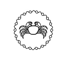 monochrome line contour with crab in circular vector image