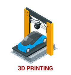 New generation of 3d printing machine printing car vector