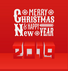 new year 2019 and christmas text design paper cut vector image