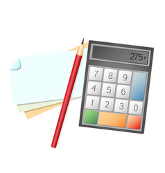 note sheet and calculator vector image