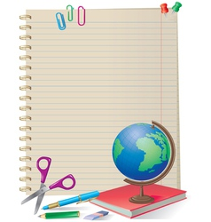 NOTEPAD WITH SCHOOL SUPPLIES vector image