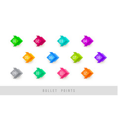 numbered colorful bullet points vector image