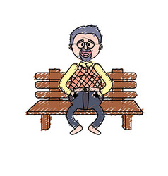 Old man in the chair with hairstyle vector