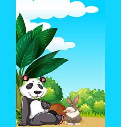 Panda and rabbit in garden vector