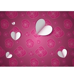 paper hearts on flower pattern vector image