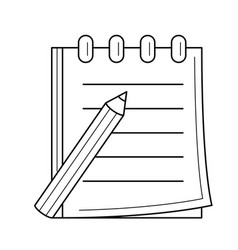 pencil and notepad with binders line icon vector image