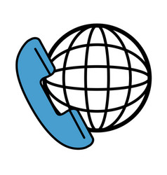 phone service with planet vector image