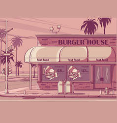 pink colored background a burger house vector image