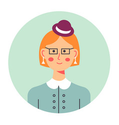 Portrait elegant female character with headwear vector