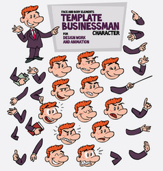 Red hair businessman face and body elements parts vector