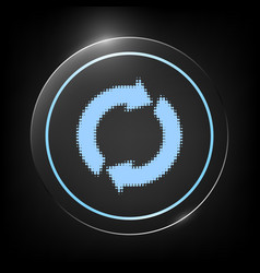 Reset button reload arrows - halftone logo vector