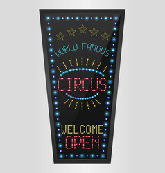 Retro sign with blue lights and the word circus vector