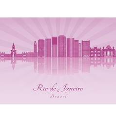 Rio de janeiro v2 skyline in purple radiant orchid vector