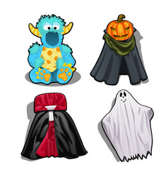 Set a festive fancy costumes for kids isolated on vector