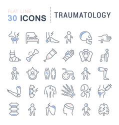 Set line icons traumatology vector
