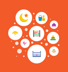 set of infant icons flat style symbols with bucket vector image