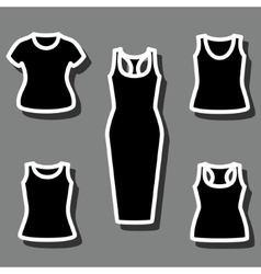 set t-shirts and dress icon vector image