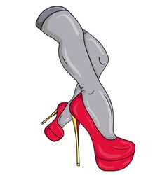 Sexy female legs in red shoes vector