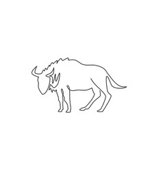 Single one line drawing dashing wildebeest vector